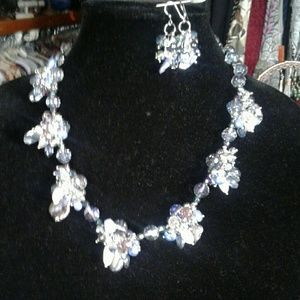 Pearl and SS necklace and earrings